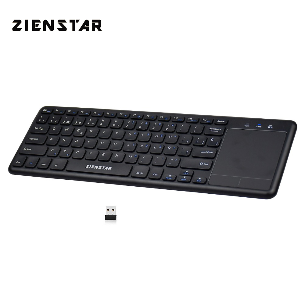 Zienstar Spanish Letter 2.4Ghz Touchpad Wireless Keyboard For Windows PC,Laptop,Ios Pad,Smart TV,HTPC IPTV,Android Box