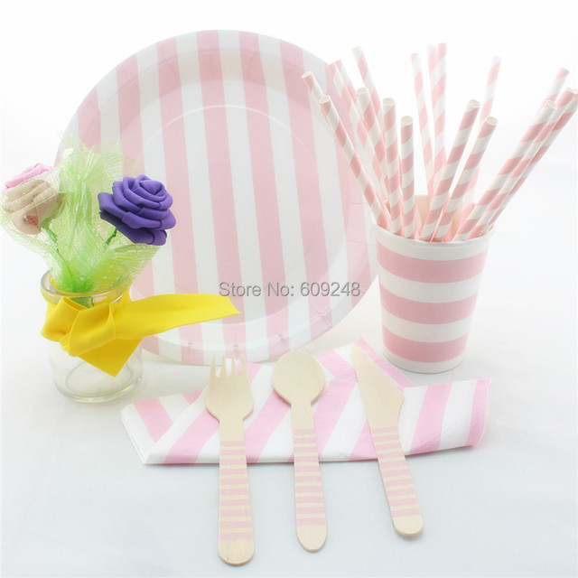 Printed Striped Baby Pink Party Tableware SetPersonalized Dinner Party Wooden Cutlery SetPaper & Printed Striped Baby Pink Party Tableware SetPersonalized Dinner ...