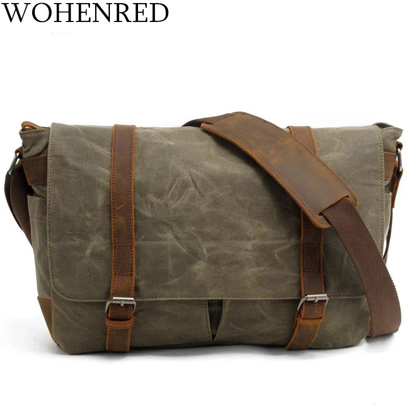 Men's Messenger Bags Vintage Leather Canvas 14 inch Laptop briefcase Handbags High Quality Waterproof Man Crossbody Shoulder Bag