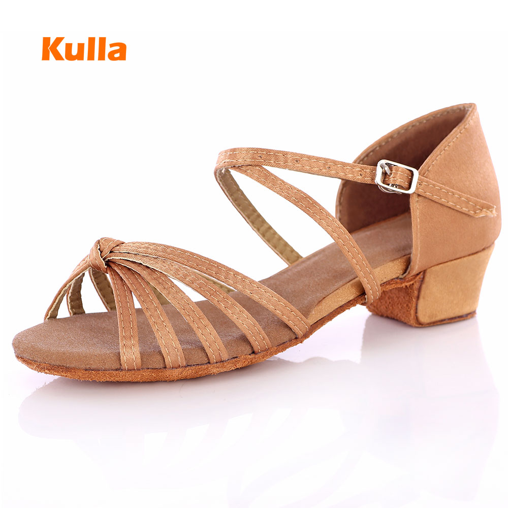 KULLA Ballroom Salsa Tango Latin Dance Shoes Children Low Heels Dancing For Kids Girls Women Zapatos