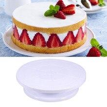 Nueva llegada diy decoración de pasteles plato giratorio girar manualmente de forma redonda de la torta de montaje giratorio patrón envío de la gota