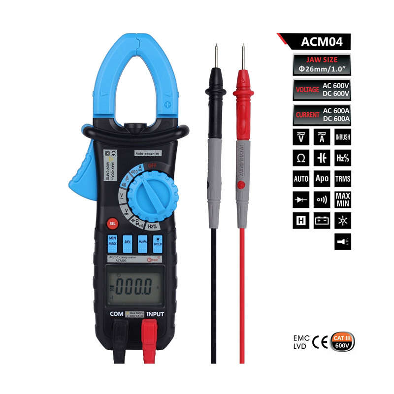 ФОТО ACM04 600A True RMS Digital AC DC Current Voltage Clamp Meter Multimeter Capacitance Frequency Inrush Current Test