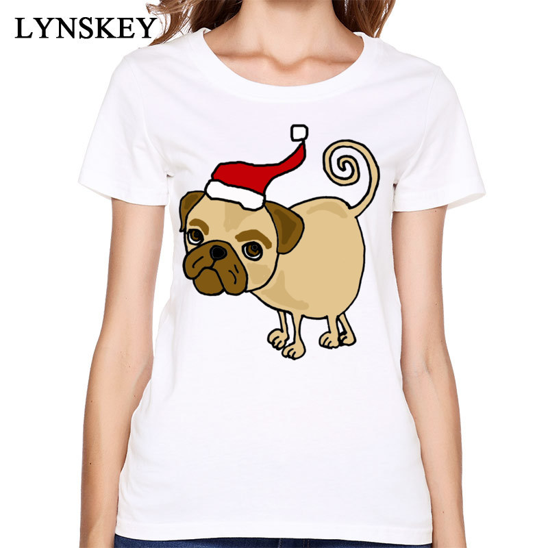 Free Shipping Pure Cotton Top T-Shirts For Women Summer/Autumn Tops Shirts Funny Christmas Pug Short Sleeve Slim Fit Tee Shirt