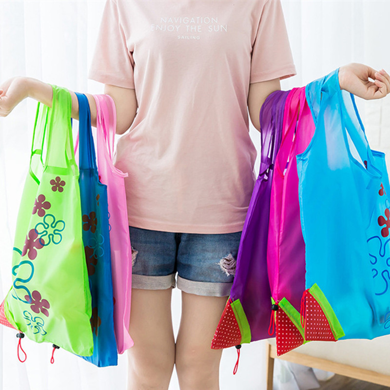 Eco Storage Handbag Strawberry Foldable Shopping Bags Reusable Folding Grocery Nylon Bag Large Capacity Home Tote Pouch