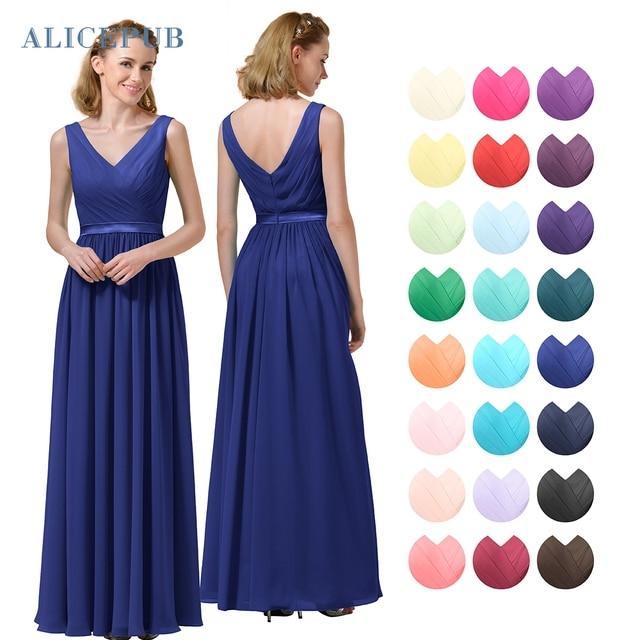 61a40ec812 Alicepub Vestidos de dama de Honor Larga de Cuello V Gasa Maxi Vestido de  Novia de