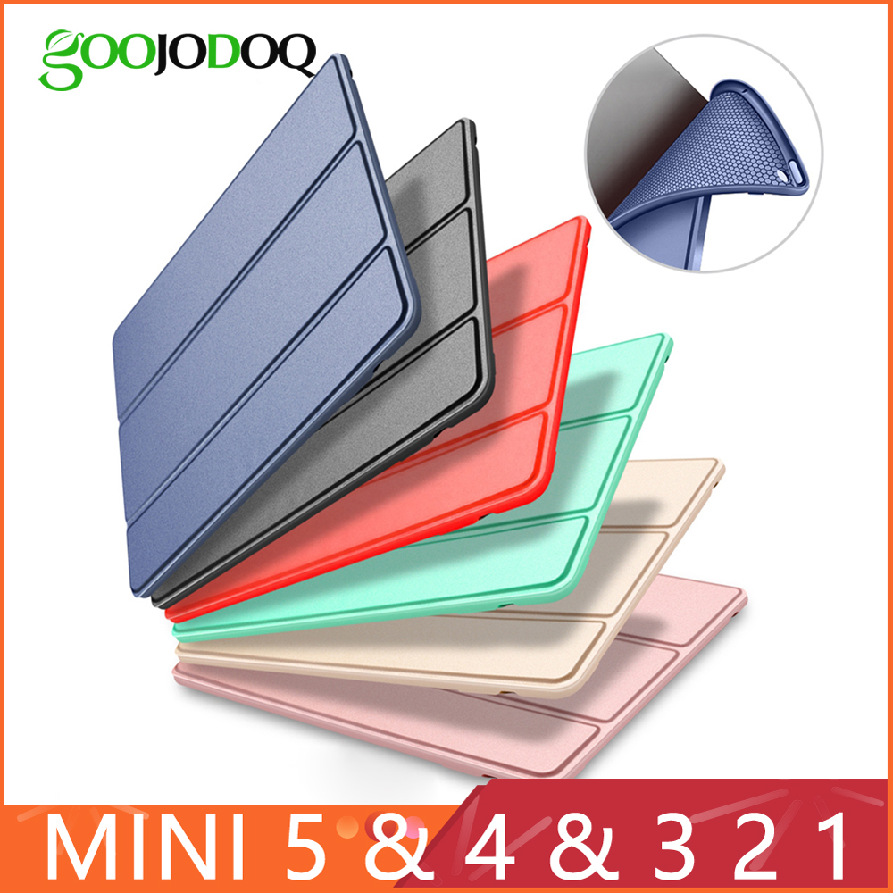 GOOJODOQ Case for iPad Mini 4 3 2 1 PU Leather Silicone Soft Back for iPad Mini Case