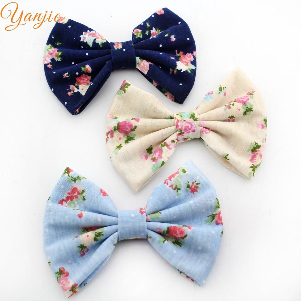 Dedicated 12pcs/lot 2019 Chic European Floral Printed Cotton Hair Bow Trendy Kids Girl Barrette Diy Hair Accessories Hair Clip Girls' Clothing