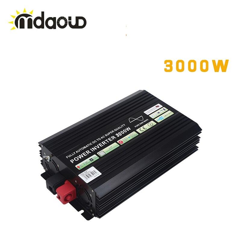 Générateur de convertisseur d'inverseur d'énergie solaire de Camping de voiture d'onde sinusoïdale Pure de 3000W culminant 6000W hors réseau DC AC