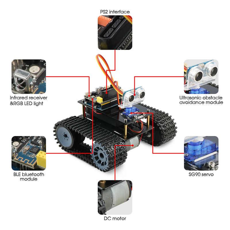 Keywish tanque robô para arduino uno r3 carros inteligentes kit app rc controle remoto ultra-sônico módulo bluetooth stem brinquedos para crianças