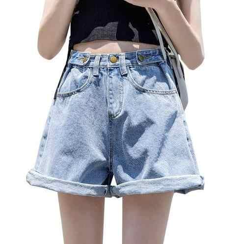 2019 verano Plus tamaño 5XL pantalones cortos de mezclilla de las mujeres pantalones vaqueros de cintura alta pierna recta Pantalones azul spodenki damskie Pantalones LJ581