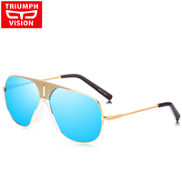 TRIUMPH VISION Male Vintage Steampunk Sunglasses Men Gold Metal Designer Sun Glasses For Men Luxury Brand