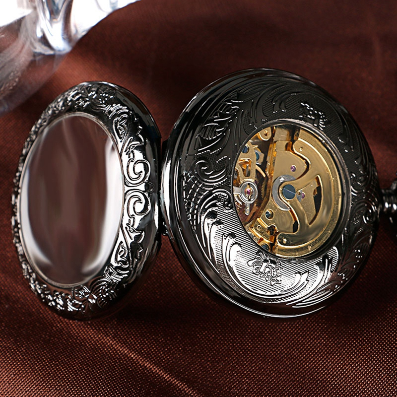 Steampunk oco vidro transparente relógios mecânicos automáticos