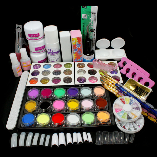 New Pro Full Acrylic Glitter Powder Glue French Tips Brush Buffer Nail Art Tool Kit Set Russia