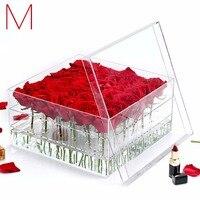 M Blume Box Kosmetik Box Rose Halten Box Wasser Jet Für blumen Organizer Bilden Fall Sarg Für Frische Rose C217