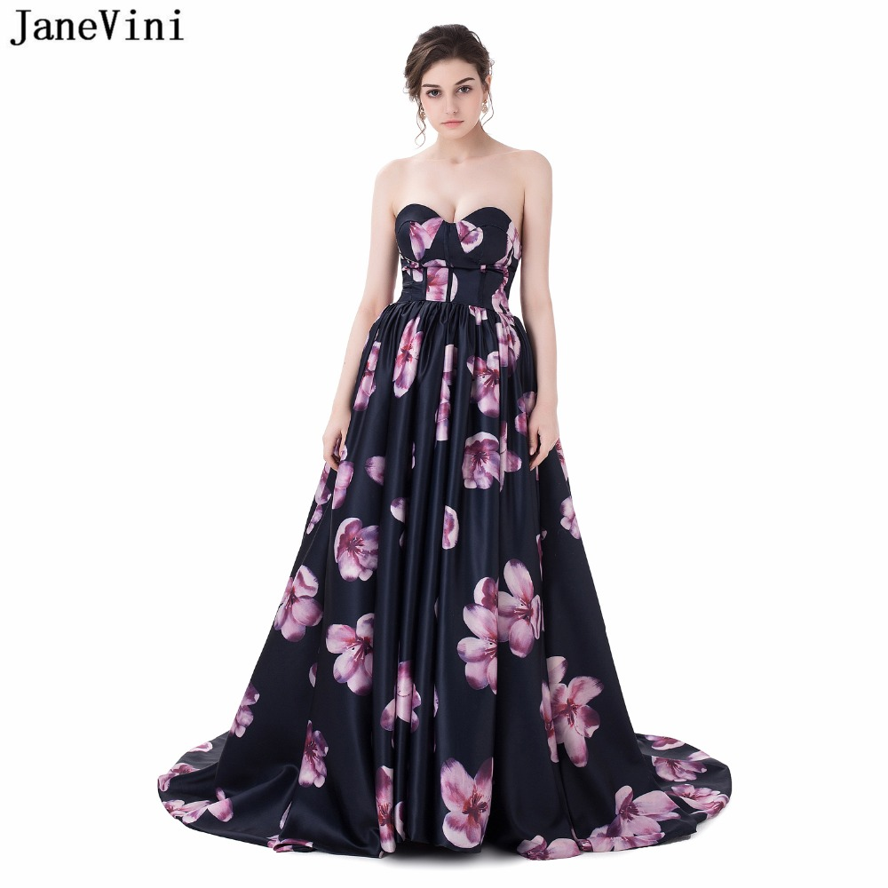 JaneVini Satin Floral Print Long Bridesmaid Dresses for Women Sweep Train Elegant Sweetheart A Line Formal Prom Gowns Backless