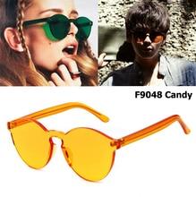 JackJad 2017 New Fashion Transparent Candy Color Rimless Frame Sunglasses Brand Design Round Style Sun Glasses Oculos De Sol