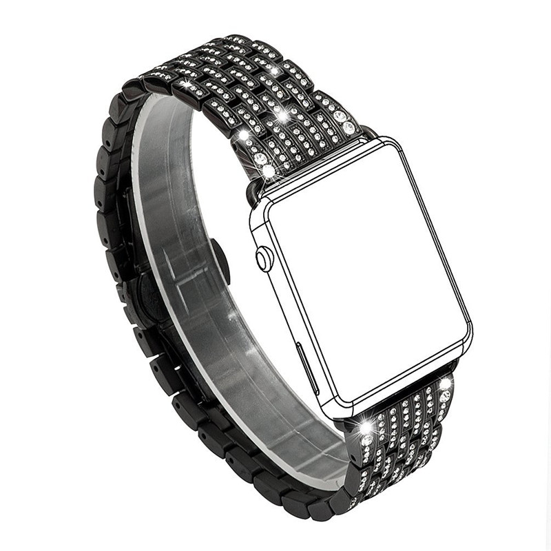 Women Dress Watch Band For Apple Watch Band Crystal Watch Bands Luxury Stainless Steel Bracelet Strap For iWatch 38mm 42mm