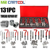 131PCS Professtional Stripped Damaged Thread Rethread Repair Kit HSS Drill Helicoil Metric Set Heli Coil Tap Insert Case