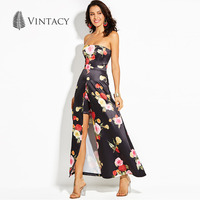 Vintacy Elegant Floral Print Strapless Party Dress Women New Black A Line High Waist Vintage Dresses
