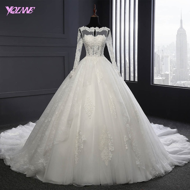 YQLNNE 2018 Long Sleeve Lace Ball Gown Wedding Dress Lace-up Bridal Dresses