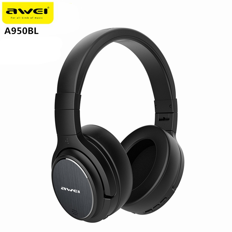 Original Awei A950BL ANC Noise Cancelling Wireless Earphone Cordless Headset With Microphone awei a950bl noise cancelling bluetooth headphone wireless earphone cordless headset with microphone casque earpiece for phones