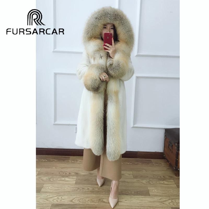 FURSARCAR 2018 Fashion New Real Mink Fur Coat Women With Fox Fur Collar And Cuff Luxury Winter Natural Genuine Mink Fur Coat