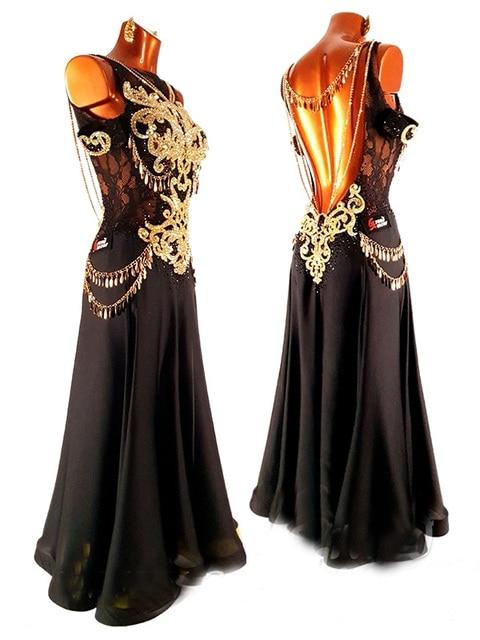 Customer made black chiffon Latin dress Latin dance dress White tassel latin dance dress