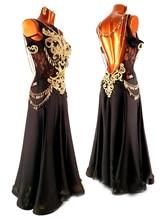 Klant gemaakt zwart chiffon Latin jurk Latin dans jurk Wit kwastje latin dans jurk