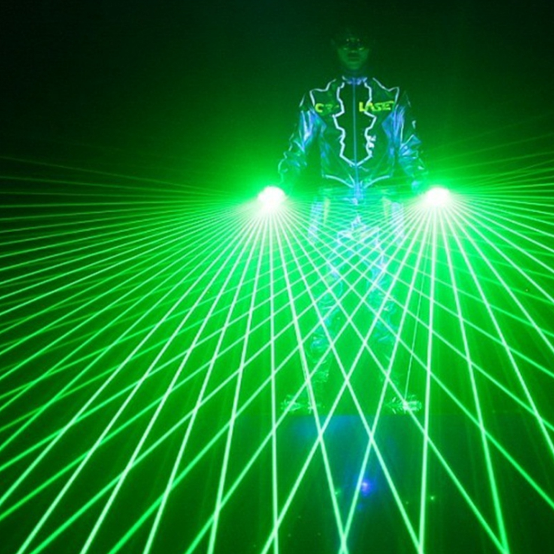 1Pcs Super Cool Green Laser Gloves Dancing Stage Show Light With 4 Pcs Lasers Luminous Gloves Light For DJ Club Party Bars(China)