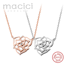 Macici Hot Sell 925 Silver Rose Gold Plated Hollowe Flower Necklaces Pendants with 5A Cubic Zircon For Women Birthday Gift DA596