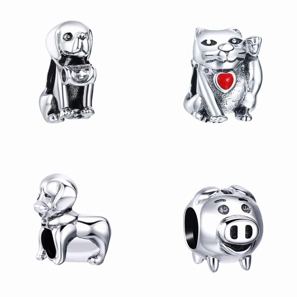 SILVERCUTE Labrador Dog Lucky Cat Piggy Beads fit Charm Bracelet 925 Sterling Silver Animal Jewelry Making Accessories SCD6182G