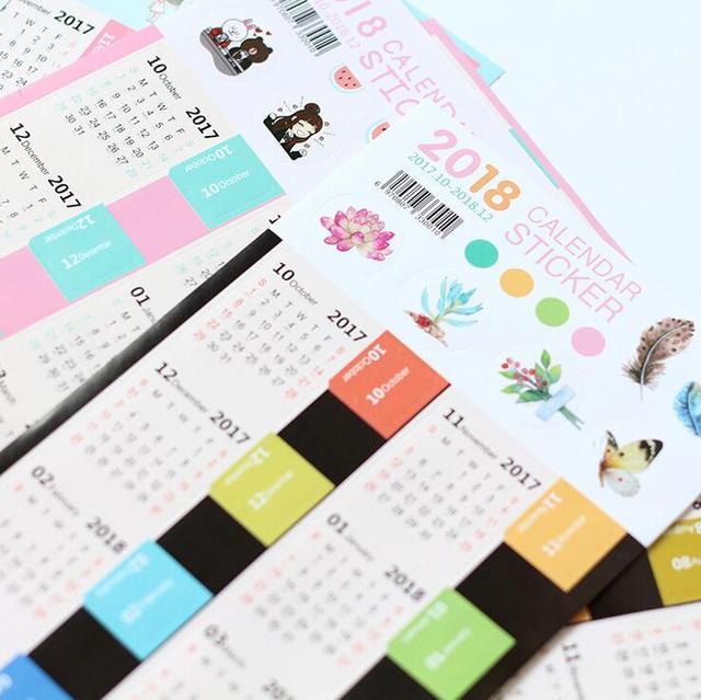 2 sztuk/paczka Nowy Kreatywny 2018 Rok Mark Mini Kalendarz Kalendarz Biurowe Dekoracyjne Naklejki Etykiety Naklejki