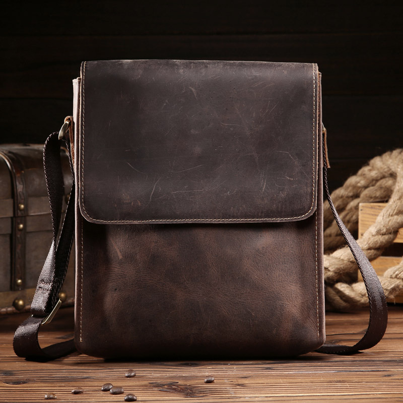 Men's Bags Crazy Horse Genuine Leather Vintage Crossbody Bags For Men IPAD Messenger Bag Business Men's Shoulder Bag Male