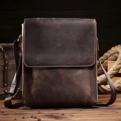 Männer Taschen Crazy Horse Echtes Leder Vintage Umhängetaschen Für Männer IPAD Messenger Tasche Business herren Schulter Tasche männlichen