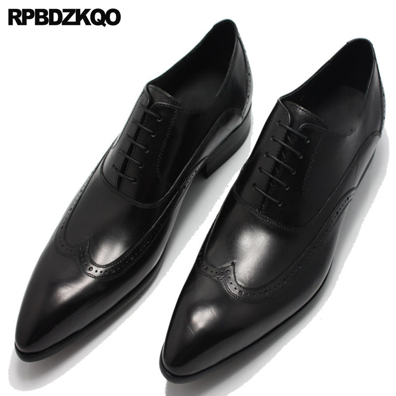 b3d2395e67 Men Black Patent Leather Dress Shoes Office Wingtip Brogue Large Size  Pointy Toe Burgundy European Italian Pointed Italy Oxfords