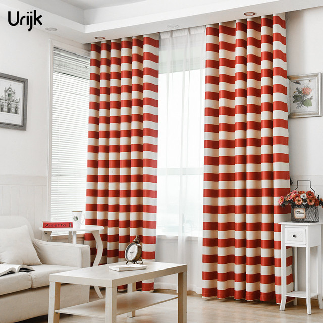 urijk 1 stks triped sheer gordijnen wit rood kleur verduisteringsgordijnen voor woonkamer moderne raamdecoratie gordijnen slaapkamer