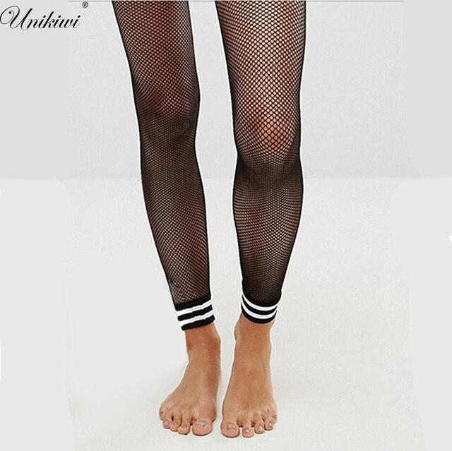 65c9c87909333 UNIKIWI Women Tights Sexy No Foot Stripe Cuff Fishnet Stockings.Elastic  Ladies Hollow out Mesh Fishnets Female Pantyhose Hosiery