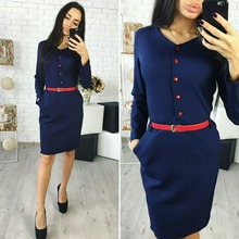 Elegant Autumn Spring New Arrival Shirt Dress Women Casual Straight V-neck Red Button Pockets Office Work Dresses without belt(China)