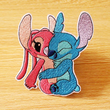 Lilo Stitch Couple Anime Patch Iron On Patches On Clothes Stripe Patch Cartoon Embroidered Patches For Clothing DIY Sewing Decor anime cartoon lilo