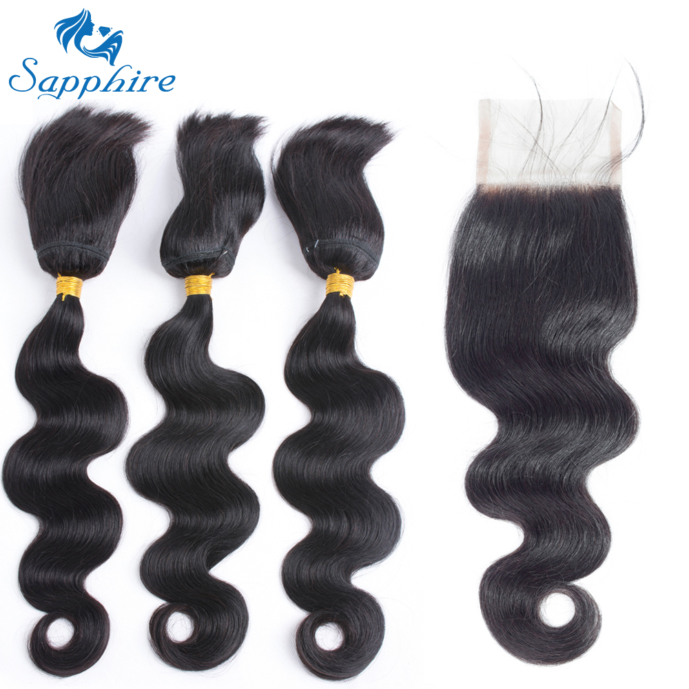 Sapphire Hair Products Brazilian Virgin Hair With Closure Brazilian Body Wave Braid In Bundles With Lace