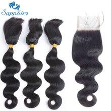 Сапфир продукты волос бразильский девственные волосы с Накладные волосы бразильский Для тела кос волна в пачках с Синтетическое закрытие шнурка волос для волос Salon