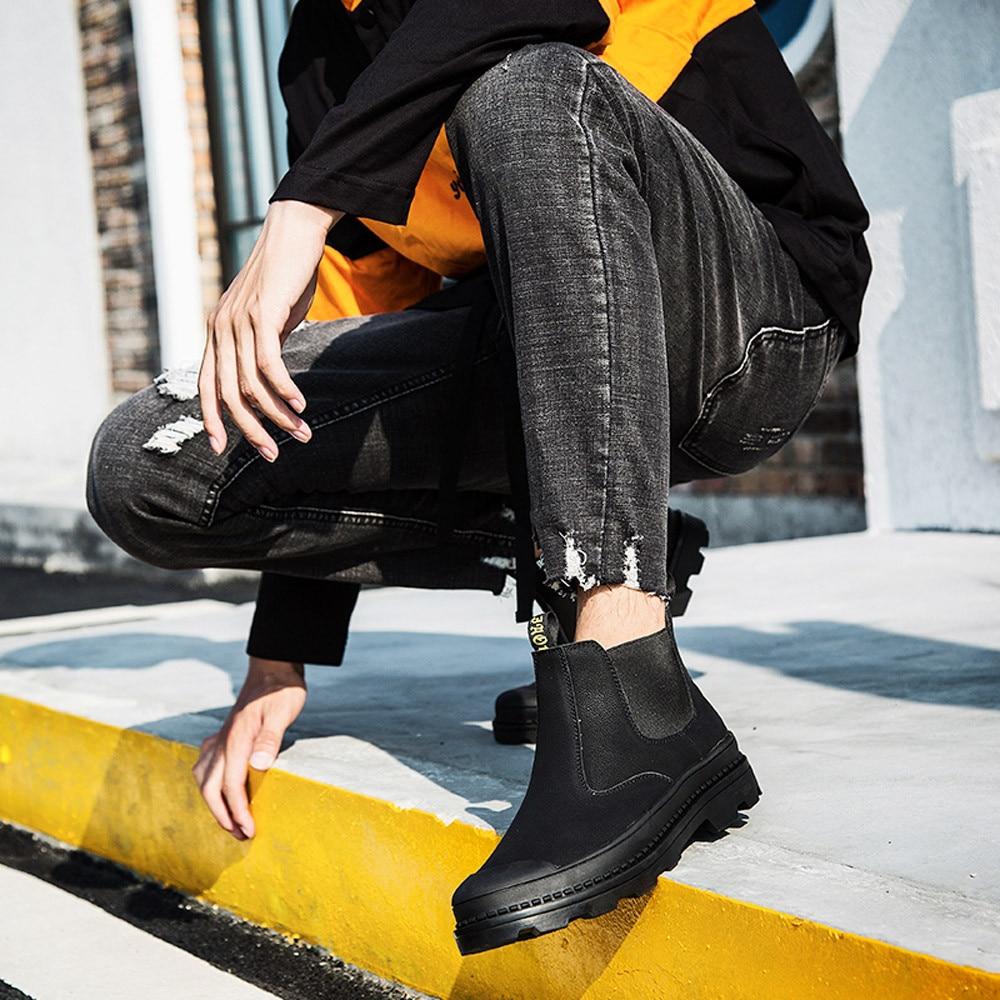 Botas Caliente De marrón Impermeable Para Cuero L4 Inglaterra Zapatos Negro Del Retro Invierno Hombres Goma Nieve Los zHzraq