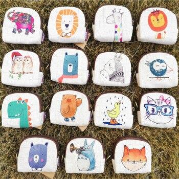 Cute Short Wallet Women Vintage Canvas Shell Coin Purse Lady Card Holder Clutch Kids Cartoon Totoro/Fox/Owl Small Change Purses 1