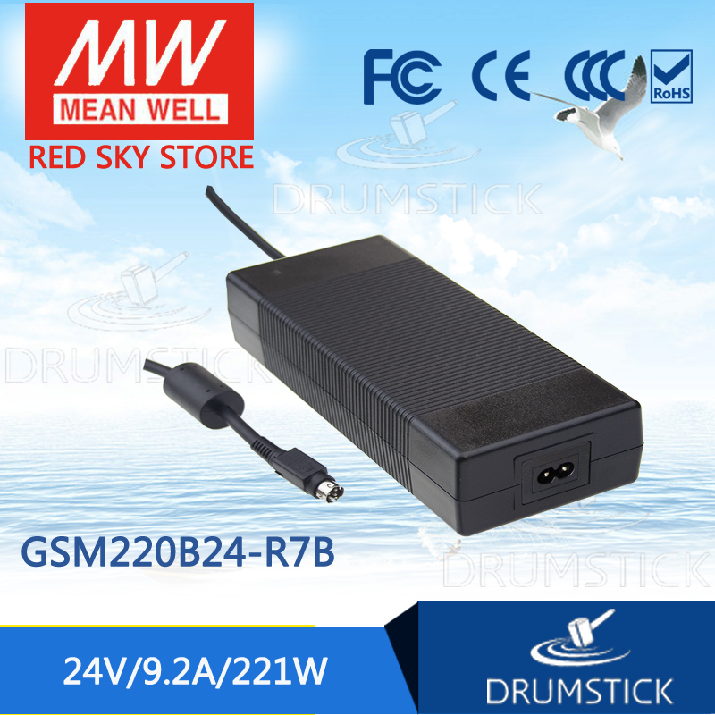 100% Original MEAN WELL GSM220B24-R7B 24V 9.2A meanwell GSM220B 24V 221W AC-DC High Reliability Medical Adaptor 1mean well original gsm160a24 r7b 24v 6 67a meanwell gsm160a 24v 160w ac dc high reliability medical adaptor