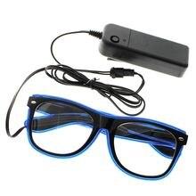 Светодиодные очки с электропроводом светящиеся мигающие солнцезащитные
