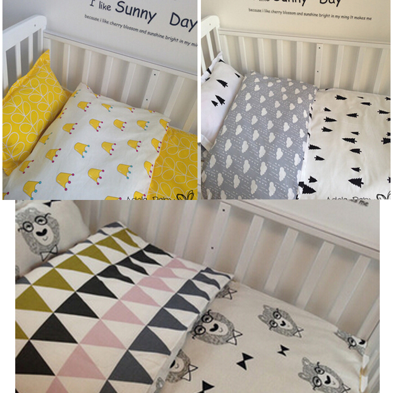 ФОТО New baby crib bedding set 100% cotton baby bed bumper set 3 pcs include pillow case+bed sheet+duvet cover without filling