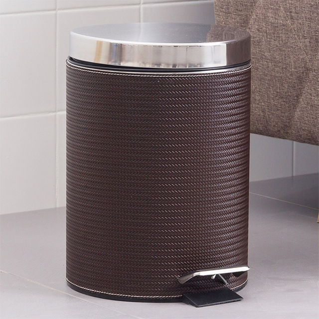 ORZ 8L Woven Leather Trash Can With Lid Stainless Steel Pedal Trash Bin  Kitchen Bathroom Toilet