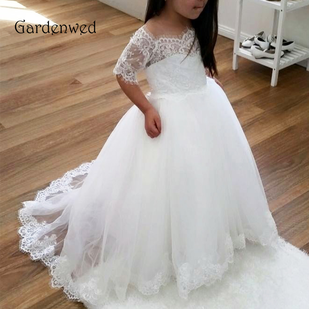 Gardenwed 2020 First Communion Dresses For Girls Vestidos De Comunion Off Shoulder Lace Sleeves Tulle Pageant Dresses For Girls