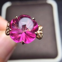 Ювелирные изделия, индивидуальные размеры, Настоящее розовое золото 18 К AU750 100% натуральный Лондон Розовый Топаз Драгоценные камни женские к