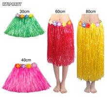 169947cae67ee 30/40/60/80cm Plastic Fibers girls Woman Hawaiian Hula Skirt Hula Grass  costume Flower Skirt Hula dance dress Party Hawaii Beach